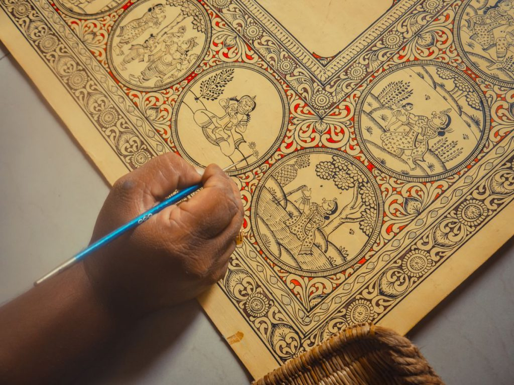 Detailing of a pattachitra painting