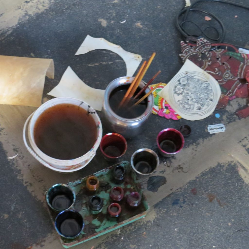 Paints and materials used for leather puppetry