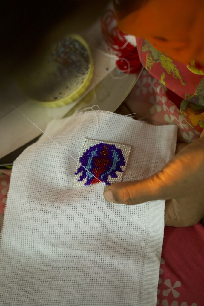 Making of bead embroidery
