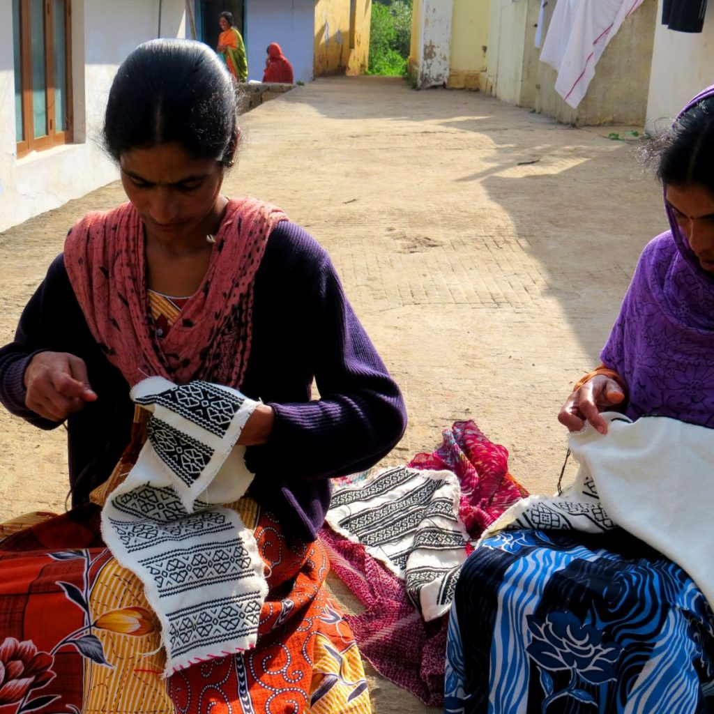Women artisans doing Toda embroidery